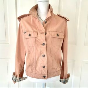 Burberry peach pink denim short jacket with plaid accents